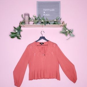 Lulus Coral Embroidered Floral Blouse
